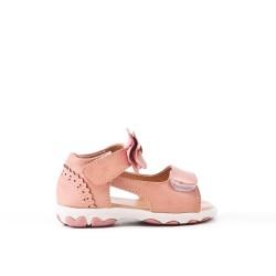 Sandale fillette rose à nœud