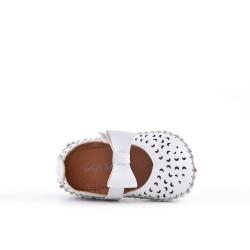 Babies fillette blanche en simili cuir