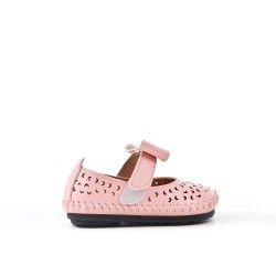 Babies fillette rose en simili cuir