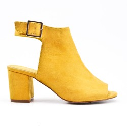Yellow ankle boot with open toe