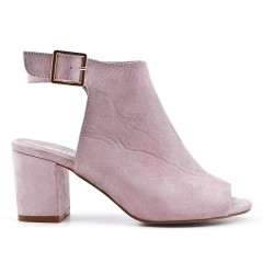 Gray ankle boot with open toe