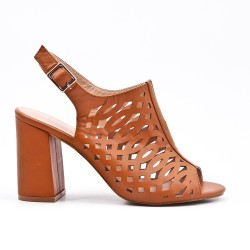 Camel boot in faux leather with heel
