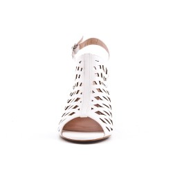 White imitation leather boot with heel