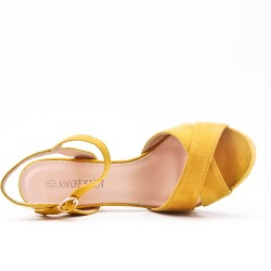 Yellow faux suede sandals