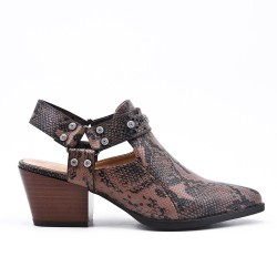Snake shoe with small heels
