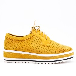 Yellow derby in perforated faux suede