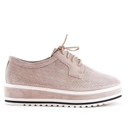 Beige derby in perforated faux suede