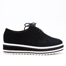 Black derby in perforated faux suede