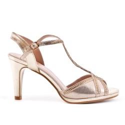 Golden sandal with rhinestone heels