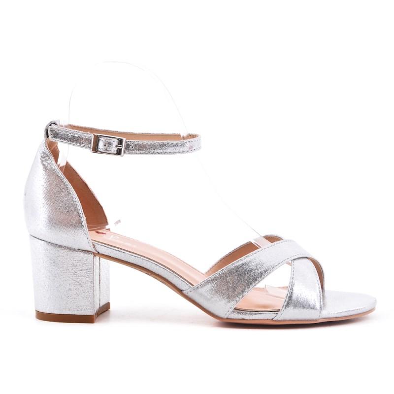 vente chaude en ligne ebaf3 fde5e Sandale argent en simili cuir à talon carré