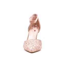 Pink sequined high heel pump