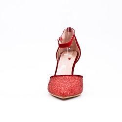 Red sequined high heel pump