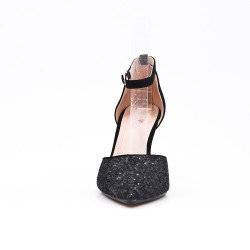 Black sequined high heel pump