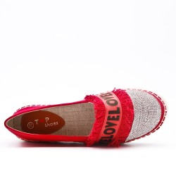 Red espadrille with rhinestones