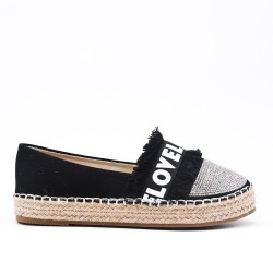 Black espadrille with rhinestones