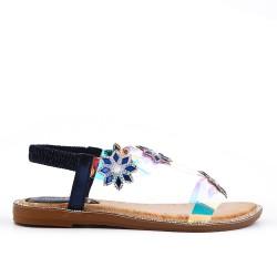 Black flat sandal with transparent detail