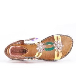 Champagne flat sandal with transparent detail