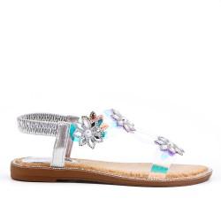 Flat sandal with transparent detail