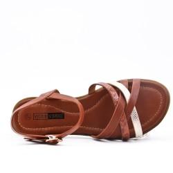 Brown leatherette flat sandal