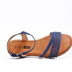 Blue flat sandal in faux leather
