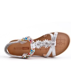 Silver sandal with comfort sole