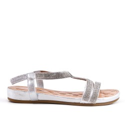 Silver sandal with rhinestones