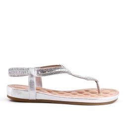 Golden sandal with rhinestones