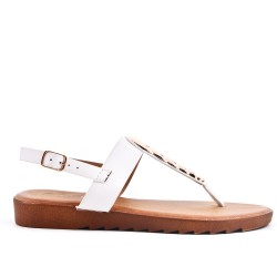 Tong sandal white faux leather