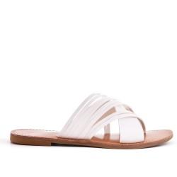 White flat slat imitation leather