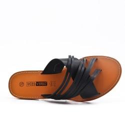 Black flat slat imitation leather