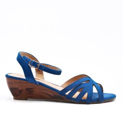Blue sandal with small wedge