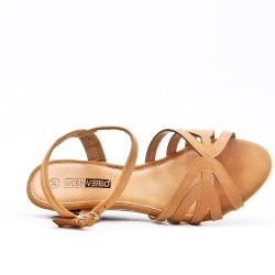 Beige sandal with small wedge