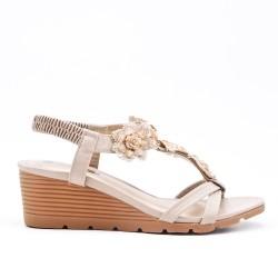Beige wedge sandal
