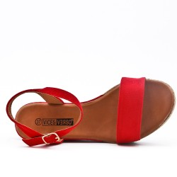 Red wedge sandal in faux suede