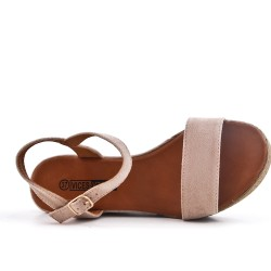 Pink wedge sandal in faux suede