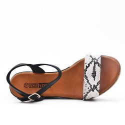 Wedge sandal with snake pattern