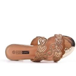 Golden slate decorated with rhinestones with heel