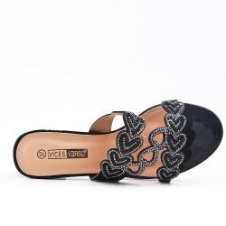 Black slate decorated with rhinestones with heel
