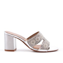 Silver slate decorated with rhinestones with heel