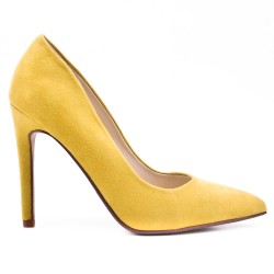 Escarpin jaune en simili daim à talon haut