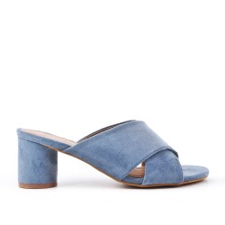 Blue flapper with round heel