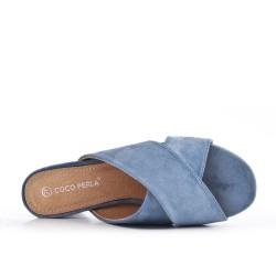 Flapper blue con tacón redondo