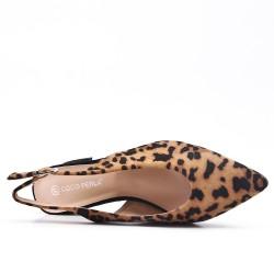 Bomba con estampado de leopardo de tacón alto