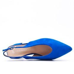 Escarpin bleu en simili daim à petit talon
