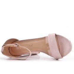 Sandale rose en simili daim à boucle