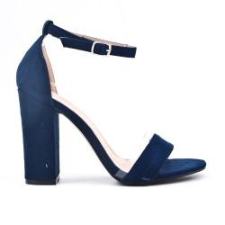 Sandale bleu en simili daim à boucle