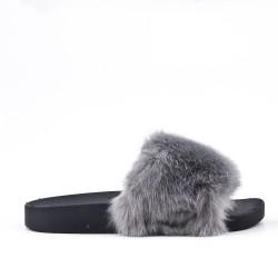 Claquette grise en fourrure