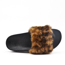 Brown fur slipper