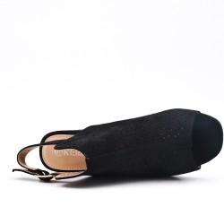 Sandale noire en simili daim perforé