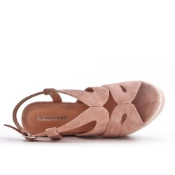 Pink faux suede sandal with wedge heel